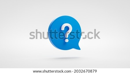 Blue question mark icon sign or ask faq answer solution and information support illustration business symbol isolated on white background with problem graphic idea or help concept. 3D rendering.
