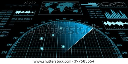 Blue radar screen with futuristic user interface hud and digital blue radar screen with futuristic user interface hud and digital world map infographic design elements gumiabroncs Choice Image