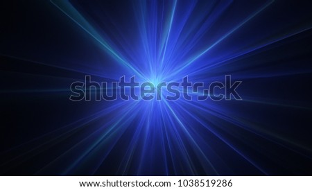 Blue radial light rays. Abstract background. Computer generated agraphic