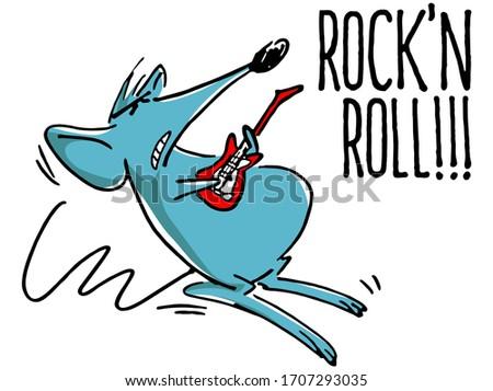 Blue Rat cartoon Rock'n Roll color - social media sticker Foto stock ©