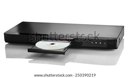 Blue Ray player with a disk on a white background closeup