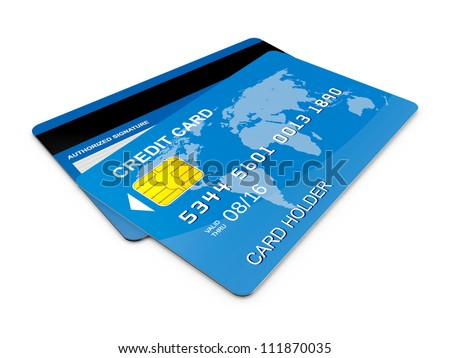 Blue realistic credit card, front and back view on isolated white background.