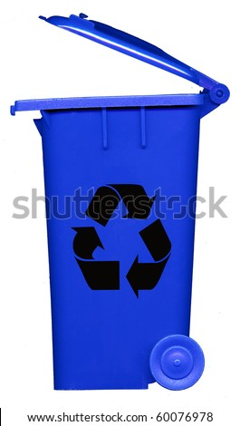 blue recycle bin - stock photo