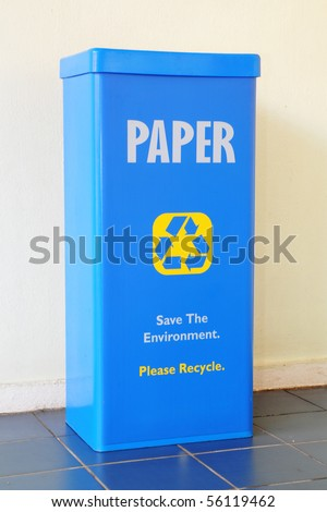 Blue Recycle Bin For Paper