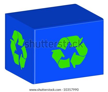 blue recycling bin with green arrow logo
