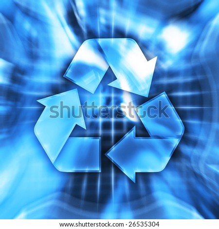 Blue recycling symbol conceptual illustration