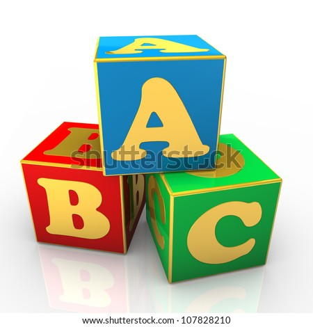 Blue, red and green ABC cubes with golden text.