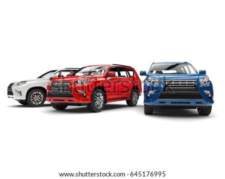 Blue, red, and white modern SUVs - studio shot - 3D Illustration