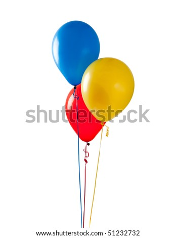 Blue, red and yellow balloon on a white background