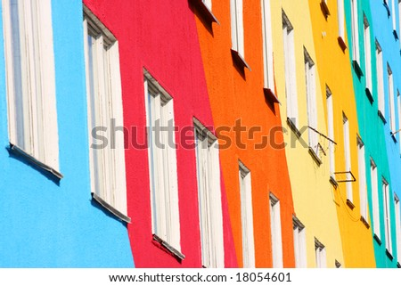 Blue, red, green, orange homes