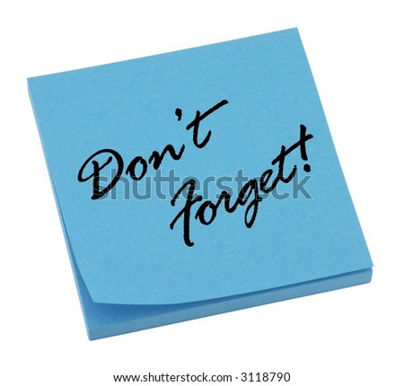 Blue reminder memo isolated on white.