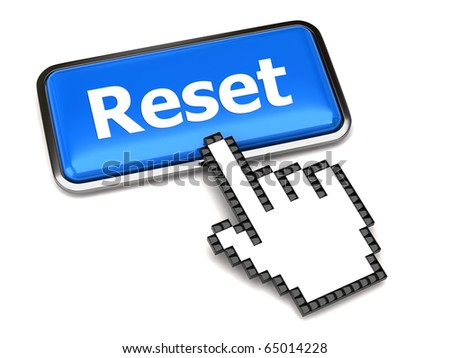 Blue reset button and hand cursor