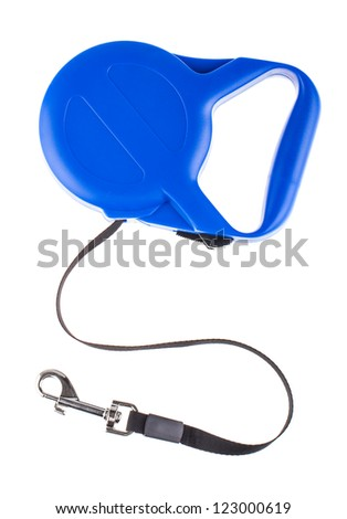 Blue retractable leash for dog top view isolated on white background #123000619
