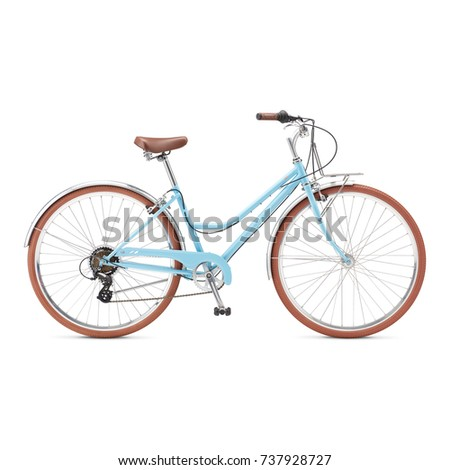 Blue Retro Bicycle Isolated on White Background. Lightweight American Classic Cruiser Bike. Light Blue Multi-Speed Traveler Personal Transport. Vintage Vehicle