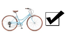 Blue Retro Bicycle Isolated on White Background. Lightweight American Classic Cruiser Bike with 7-Speed Drivetrain. Cycling Sport Activities. Light Blue Multi-Speed Traveler Bike with Brake Levers