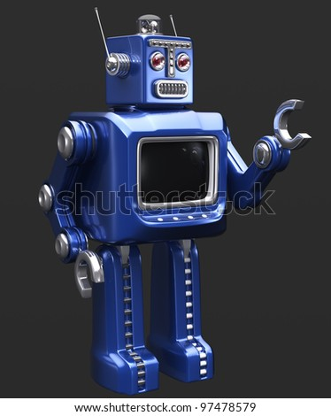 blue retro robot shaking his hand
