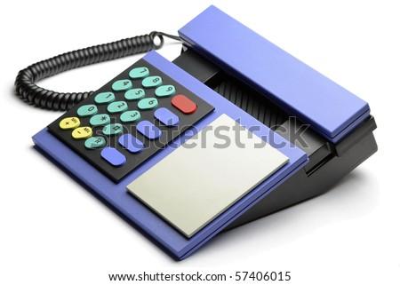 Blue retro telephone isolated on white background. - stock photo