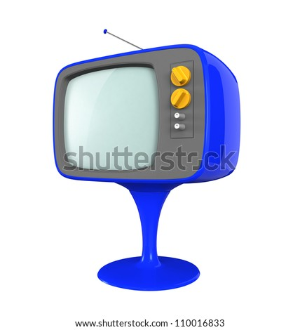 blue retro TV with log leg - stock photo
