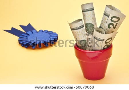 Blue Ribbon and Prize Money in a Vibrant Pot.  Great for winning a prize for food.