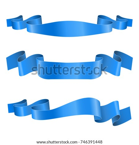 Blue ribbon banners. Shiny silk title scrolls. 3d illustration isolated on white background. Raster version