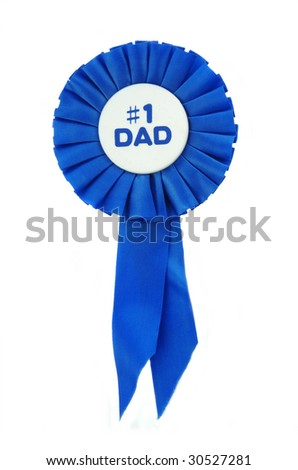 Blue Ribbon on white for a number one Dad.