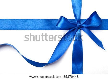 blue ribbon with a bow as a gift on a white background