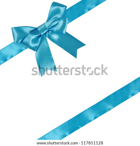 Blue ribbon with bow isolated on white background. Clipping path included.