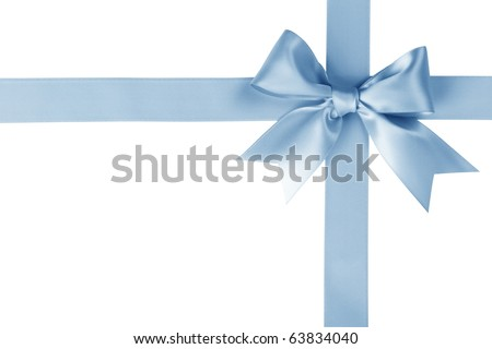 Blue ribbon with bow on white