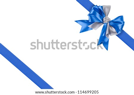 Blue ribbons with bow for gift wrapping on white background