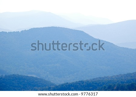 Blue Ridge Mountain rolling hills - stock photo