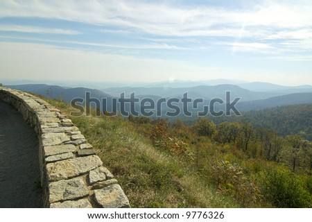 Blue Ridge Mountain rolling hills from skyline drive - stock photo