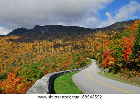 Blue Ridge Mountains and Blue Ridge Parkway - stock photo