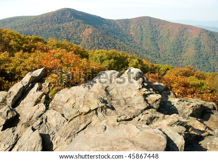 blue ridge mountains and rock formations in fall