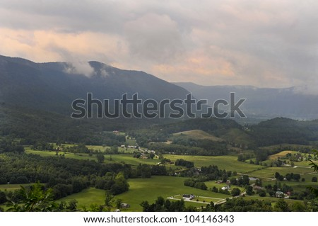 Blue RIdge Mountains at sunrise in Virginia.