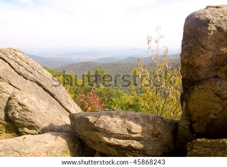 blue ridge mountains in fall, with rock formations