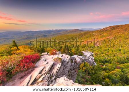 Blue Ridge Mountains landscape at Linn Cove Viaduct and Grandfather Mountain at dawn.