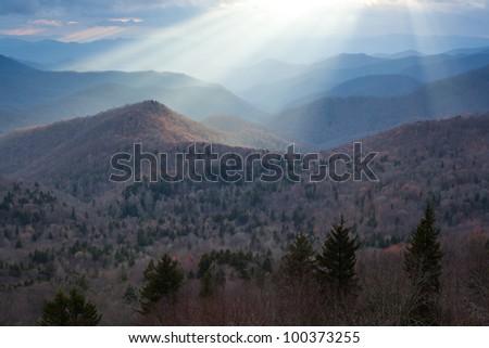 Blue Ridge Mountains Light Rays North Carolina