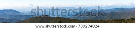 Blue Ridge Mountains Smoky Mountain National Park wide horizon landscape background layered hills and valleys large format pano panoramic