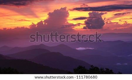 Blue Ridge Mountains viewed from Brasstown Bald in Georgia, USA.