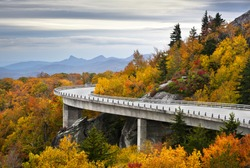 Blue Ridge Parkway Autumn Linn Cove Viaduct Fall Foliage Mountains bridge at Grandfather Mountain Western North Carolina