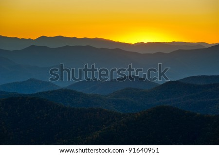 Blue Ridge Parkway Mountains Ridges Layers Sunset Appalachian Scenic Landscape in Western North Carolina