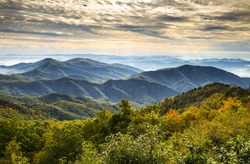 Blue Ridge Parkway National Park Sunrise Scenic Mountains Autumn Landscape near Asheville NC in western North Carolina