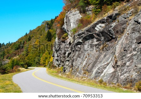 Blue Ridge Parkway road and rock wall