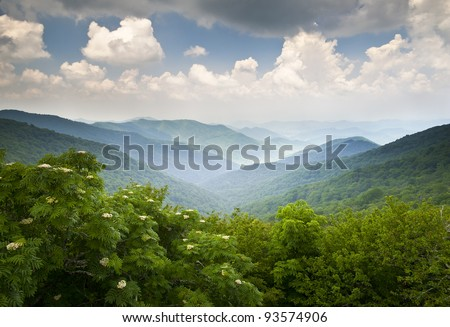 Blue Ridge Parkway Scenic Mountains Overlook Summer Landscape Asheville NC at Craggy Gardens in WNC #93574906