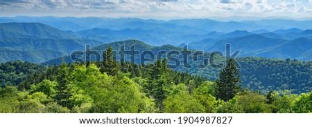 Blue Ridge Parkway summer Landscape. Beautiful summer mountain panorama.  Green mountains and layers of  hills. Near Asheville, North Carolina. Blue Ridge Parkway.USA. Stock photo ©