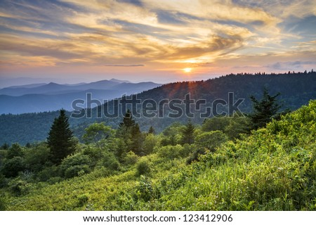 Blue Ridge Parkway Sunset Cowee Mountains Scenic Landscape in Western North Carolina
