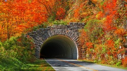 Blue Ridge Parkway Tunnel in Pisgah National Forest, NC, USA.