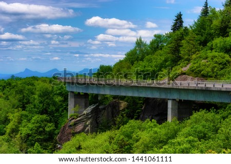 Blue Ridge Pary Way National Park's Linn Cove Viaduct, huggs this hillside providing vast vista views. #1441061111