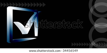 Blue right mark over black background with shapes