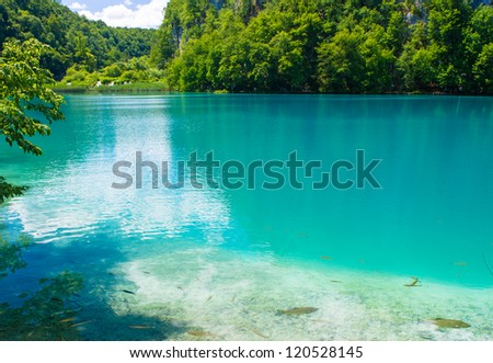 Blue river and green nature, landscape. Plitvice Lakes National Park is the oldest national park in Southeast Europe and the largest national park in Croatia.
